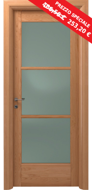 Fine serie porta scorrevole vega legno massello con vetro - Porta scorrevole vetro prezzo ...